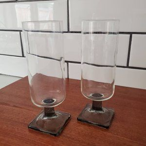 Champagne or Juice Flutes with Square Bottom, Pair